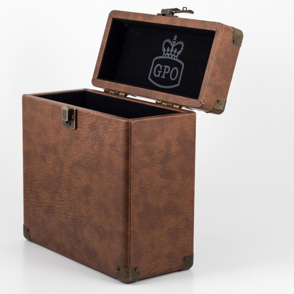 Hnedý kufrík na vinylové dosky GPO Vinyl Case