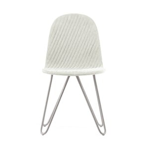 Krémová stolička s kovovými nohami IKER Mannequin X Stripe