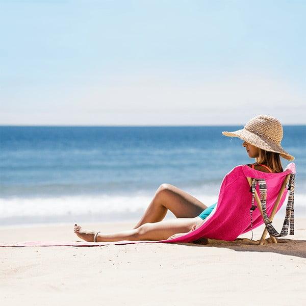 Skladacie plážové lehátko a osuška v jednom Sun Seat Fuchsia Tribal