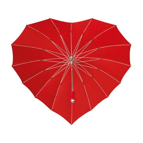 Červený golfový dáždnik v tvare srdca Ambiance Heart, ⌀107 cm