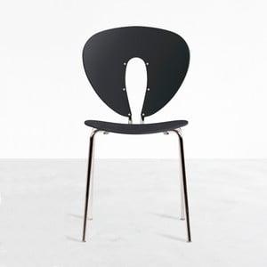 Stolička Globus, čierna/lesklý chróm