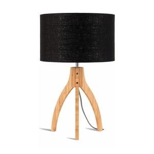 Stolová lampa s čiernym tienidlom a konštrukciou z bambusu Good&Mojo Annapurna