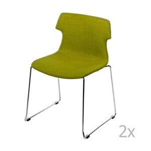Sada 2 stoličiek D2 Techno, čalúnené, zelené
