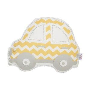 Žlto-sivý detský vankúšik s prímesou bavlny Apolena Pillow Toy Car, 32 x 25 cm