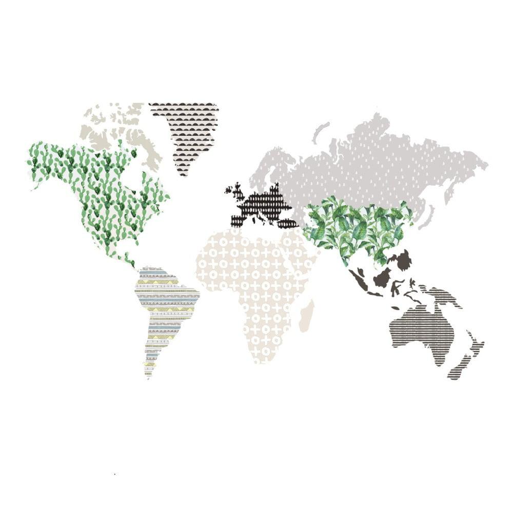 Nástenná samolepka Dekornik Brown Map, 120 x 70 cm