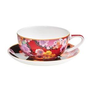 Červeno-čierna šálka s tanierikom z kostného porcelánu Maxwell & Williams Bloems, 270 ml