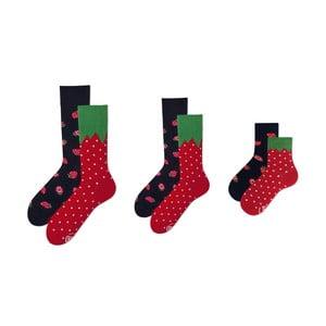 Rodinná sada 3 párov ponožiek v darčekovom balení Many Mornings Strawberry Medium