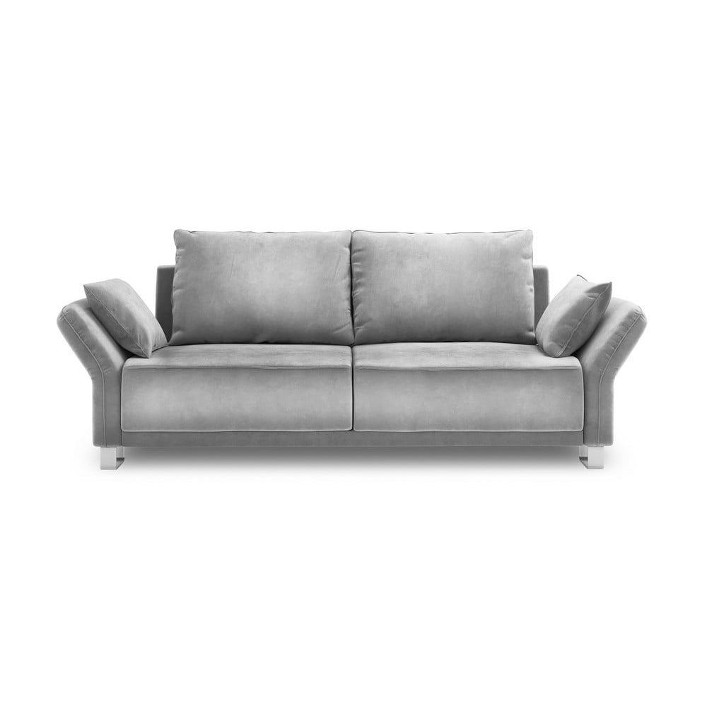 Svetlosivá trojmiestna rozkladacia pohovka so zamatovým poťahom Windsor & Co Sofas Pyxis