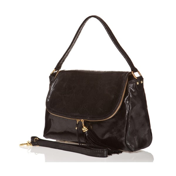 Kožená kabelka Bela, čierna