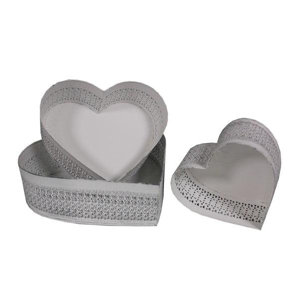 Set 3 podnosov Antic Line Heart Shape