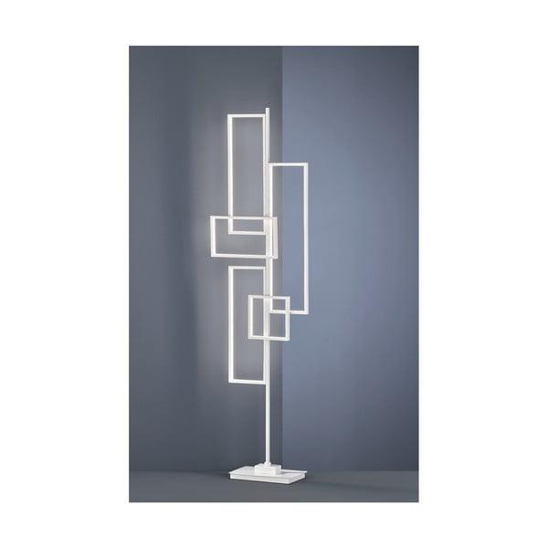 Biela kovová stojacia LED lampa Trio Tucson, výška, 161 cm