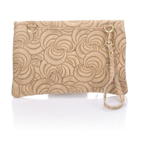 Béžová kožené listová kabelka Lisa Minardi Faire