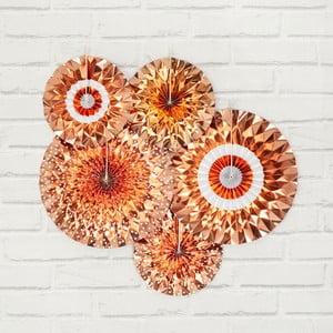 Sada 5 papierových dekorácií vo farbe ružového zlata Neviti Pinwheel