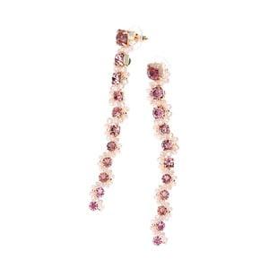 Ružové náušnice s krištáľmi Ottaviani, dĺžka 9,4 cm