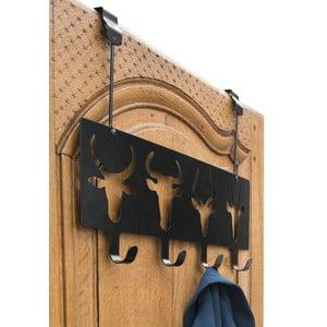 Čierny nástenný vešiak na dvere so 4 háčikmi Compactor Ungulates