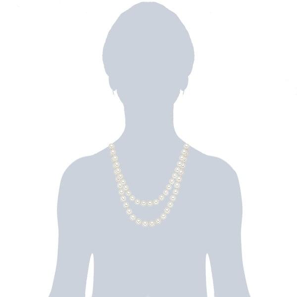 Perlový náhrdelník Muschel, biele perly 10 mm, dĺžka 120 cm
