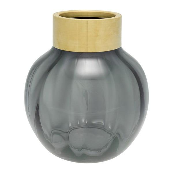 Sivá sklenená váza s kovovým lemom Green Gate, výška 19 cm