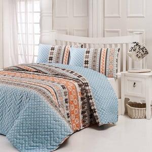 Sada prešívanej prikrývky na posteľ a dvoch vankúšov Twin Light Blue, 200x220 cm