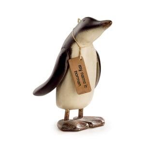 Dekorácia z teakového dreva Moycor Norman Penguin, výška 27 cm