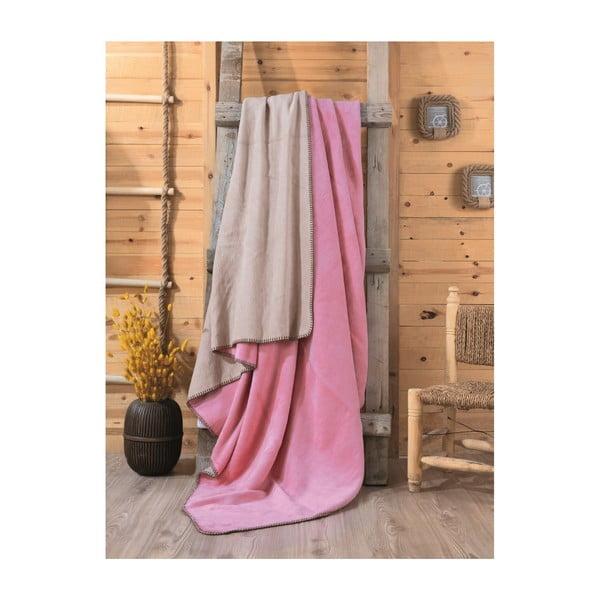 Ružovo-béžová deka Sandra, 200×220 cm