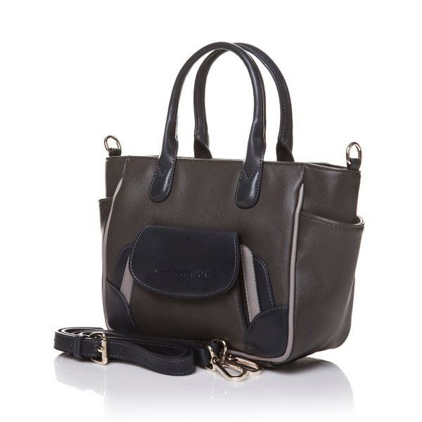 Kožená kabelka do ruky Marta Ponti Pocket Deux, sivá/béžová