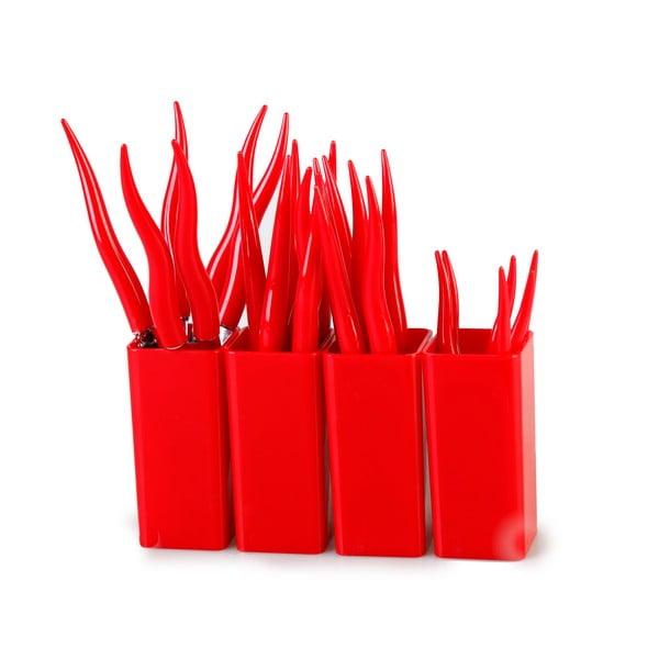 Sada 24 červených príborov so stojanom Vialli Design Ama