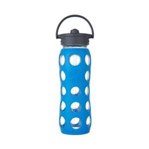 Sklenená fľaša na vodu so silikónovou slamkou a chráničom Lifefactory Sea, 650 ml