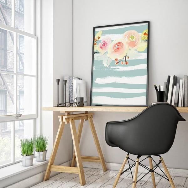 Plagát s kvetmi, modro-biele pozadie, 30 x 40 cm