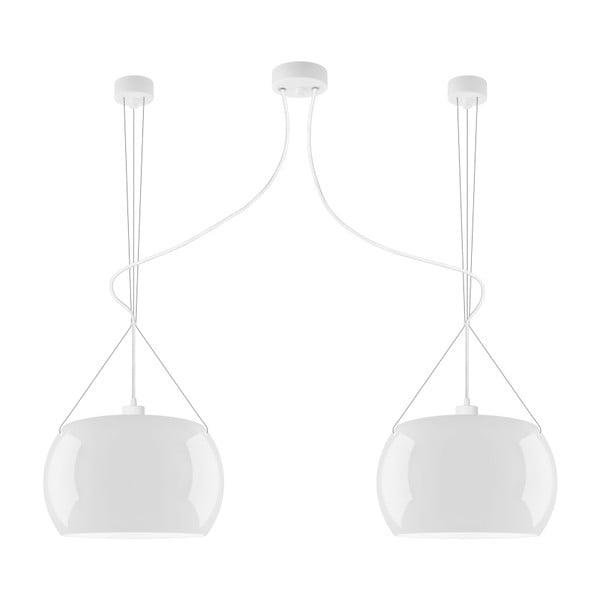 Biele dvojité lesklé závesné svietidlo Sotto Luce MOMO