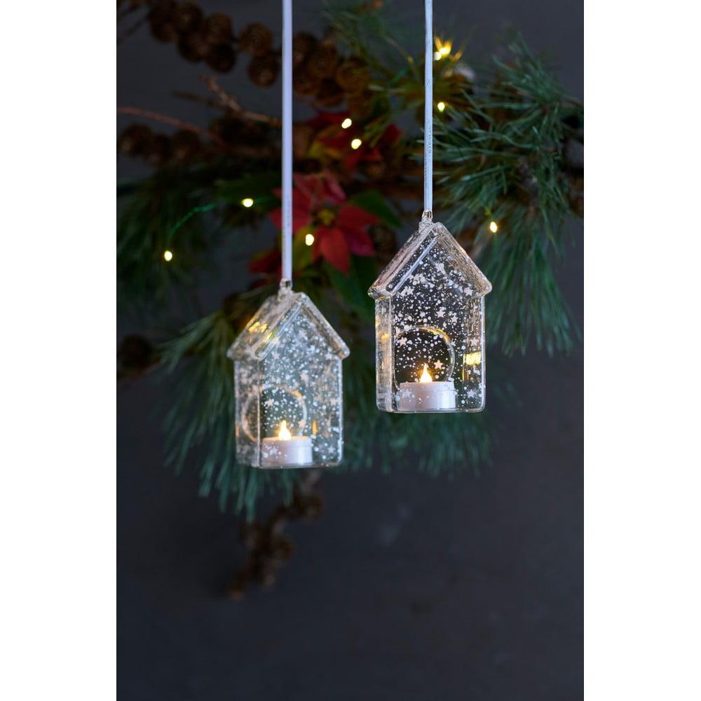 Súprava 2 svetelných LED dekoracií Sirius Romantic House, výška 13 cm