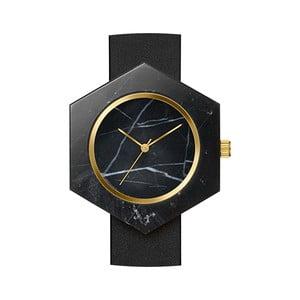 Čierne hranaté mramorové hodinky s čiernym remienkom Analog Watch Co.