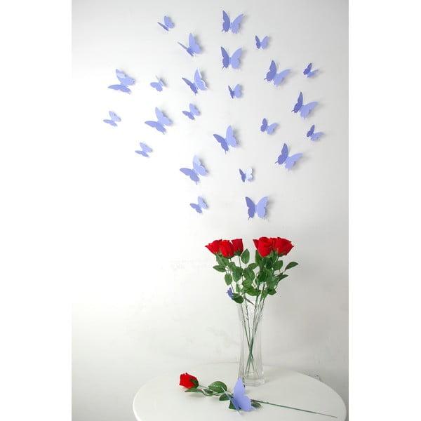 Sada 12 fialových 3D samolepiek Ambiance Butterflies