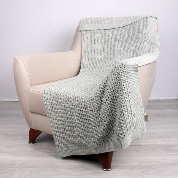 Mentolovomodrá bavlnená deka Clen