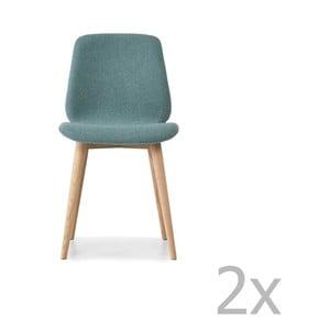 Sada 2 svetlomodrých jedálenských stoličiek s nohami z masívneho dubového dreva WOOD AND VISION Cut