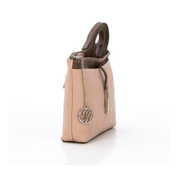 Kožená kabelka Francesco, pudrová/hnedá