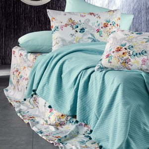 Sada posteľnej bielizne zo 100% bavlny Marie Lou Garden Aqua