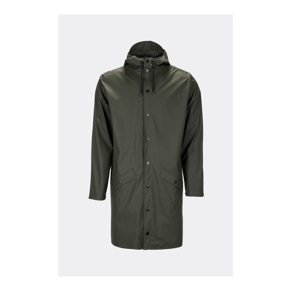 Tmavozelená unisex bunda s vysokou vodoodolnosťou Rains Long Jacket, veľkosť XS/S