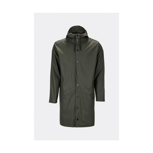 Tmavozelená unisex bunda s vysokou vodoodolnosťou Rains Long Jacket, veľkosť M/L
