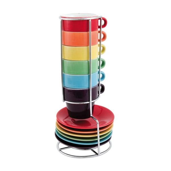 Sada 6 hrnčekov s tanierikmi a stojanom Espresso Rainbow