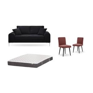 Set dvojmiestnej čiernej pohovky, 2 tehlovočervených stoličiek a matraca 140 × 200 cm Home Essentials