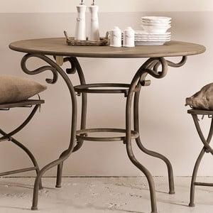 Kovový stolík Lodge, hnedý