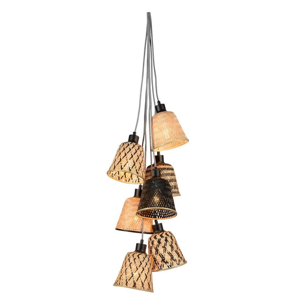 Závesné bambusové svietidlo pre 7 žiaroviek Good&Mojo Kalimantan
