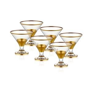 Sada 6 sklenených pohárov na servírovanie zmrzliny v zlatom dekóre The Mia Glam
