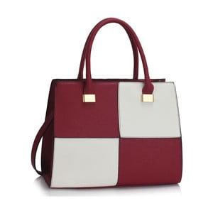Vínovo-biela kabelka L & S Bags Quadrio