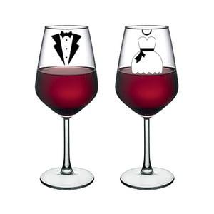 Sada 2 pohárov na víno Vivas Bride & Groom, 345 ml