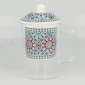 Sklenený hrnček so sitkom Maroko C, 450 ml