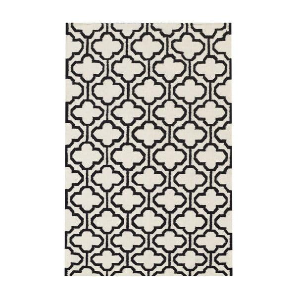Vlnený koberec Penelope Ivory Black, 140x200 cm