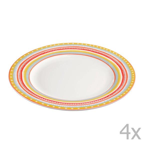 Sada 4 porcelánových tanierikov Oilily 22 cm, žltá