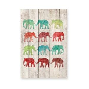 Drevená ceduľa Elephants