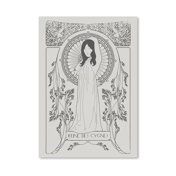 Plagát Reine Des Cygnes - Grey od Florenta Bodart, 30x42 cm